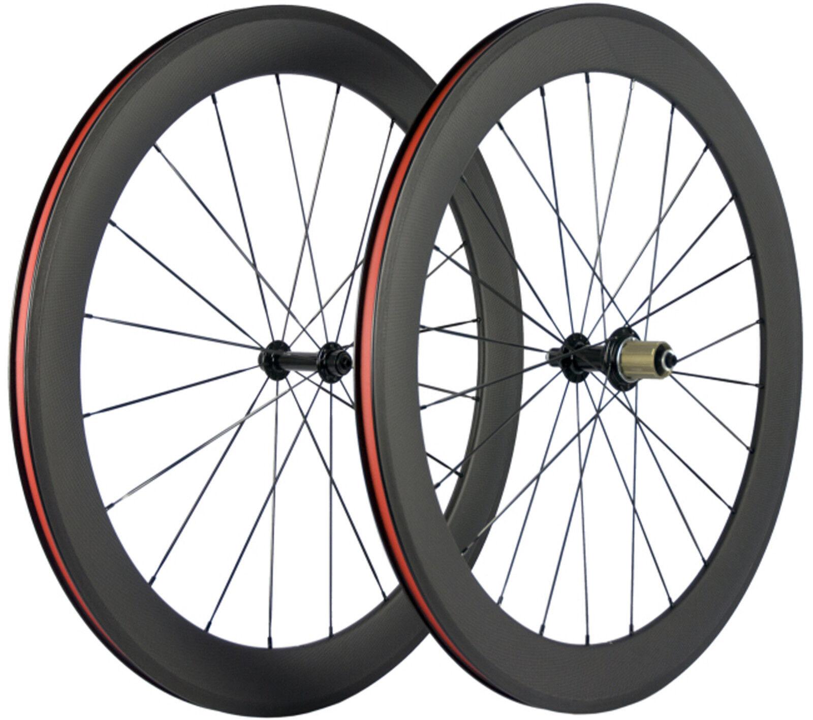 700C 60mm Tiefe Fahrrad Laufräder  Kohlefaser 3k Matte Shimano Cycle Drahtreifen  we offer various famous brand