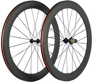 700C-60mm-Tiefe-Fahrrad-Laufraeder-Kohlefaser-3k-Matte-Shimano-Cycle-Drahtreifen