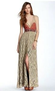 e51a51d1348 Free People Crushed Gold Long Maxi Party Prom Dress Size 2 XS  400 ...