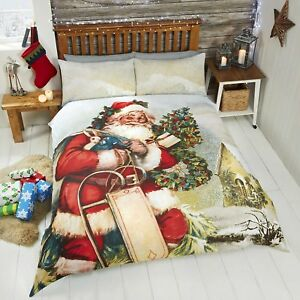St-Father-Christmas-Duvet-Quilt-Cover-Bed-Set-Xmas-Santa-Bedding-Red-FREE-P-amp-P