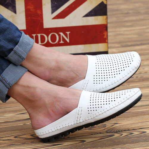 Men breathable PU leather casual slippers sandals flat heel summer slip on shoe