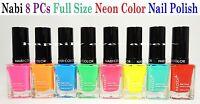 Nabi Neon Color Nail Polish Set- Full Size 8 Pcs Color Set Free Expedited Ship