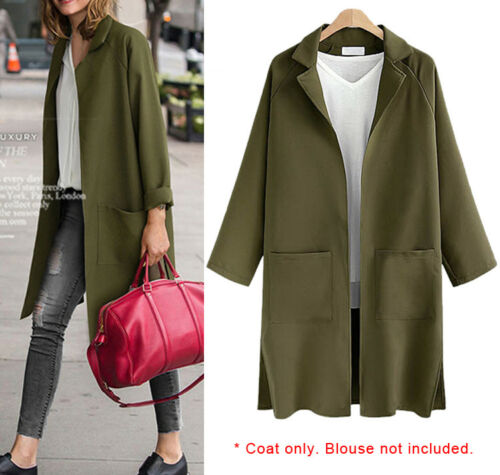 Women Ladies Jacket Coat Cardigan Long Sleeve AU Size 14 16 18 20 22 24 #3398