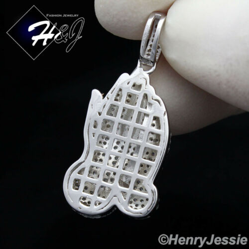 Details about  /MEN WOMEN 925 STERLING SILVER ICY DIAMOND PRAYING HANDS CHARM PENDANT*SP86