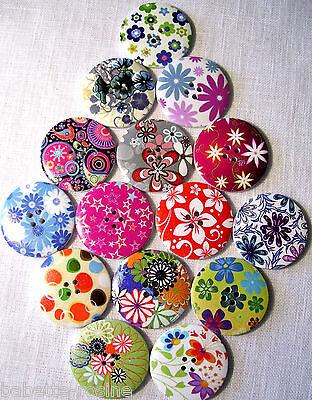 Lot de 7 boutons bois tête de singe 20 mm enfant couture scrap tricot