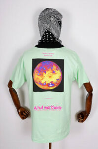 Huf-Worldwide-Skateboard-T-Shirt-Tee-Taking-Control-Neo-Mint-in-M