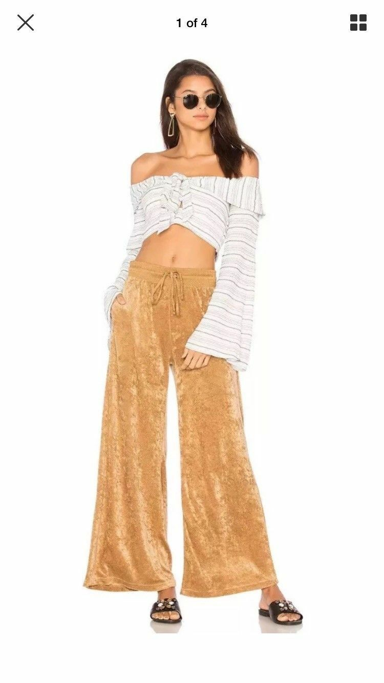 Free People Women's gold Velour Wide Leg Pants Size   X Small NWT