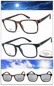 Retro-Square-Frame-Transition-Photochromic-Lens-Reading-Glasses-Sunglasses-UV400