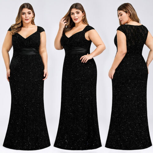 Ever-Pretty UK Plus Size Cap Sleeve Evening Party Dresses Mermaid Cocktail Gowns