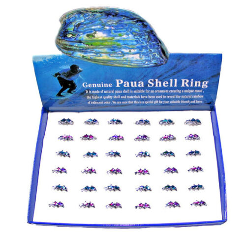 Box x 36 Paua Shell Dolphin Rings
