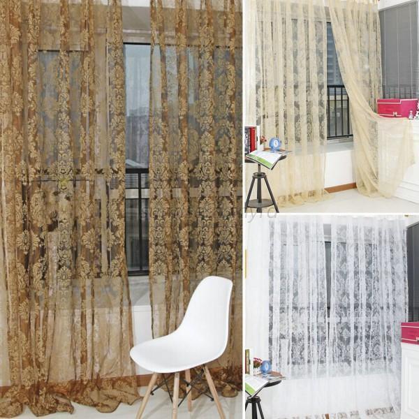 Noble Window Screens Tulle  Bronzing Flower Door Curtain Panel Sheer Scarfs U94