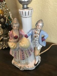 Vintage-Romantic-Courting-French-Couple-Figurine-Bedside-Table-Boudoir-Lamp-HG6
