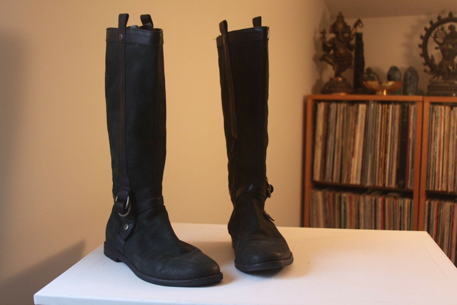 Cole Haan D32274 Air Liberty 15.5   Tall Black Leather Riding Boots Size 7.5 B