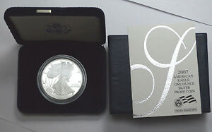 2007-W 1 Oz Fine Silver Proof US Coin American Silver Eagle Dollar w/CoA in BOX!
