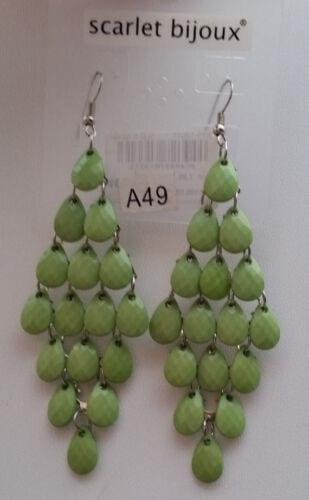1 Paar Ohrhänger Ohrringe 10 cm Tropfen Chandelier grün facettiert O 11