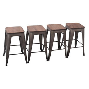 Pack Of 4 Metal Steel 26 Bar Stool Counter Stools Wooden Cushion
