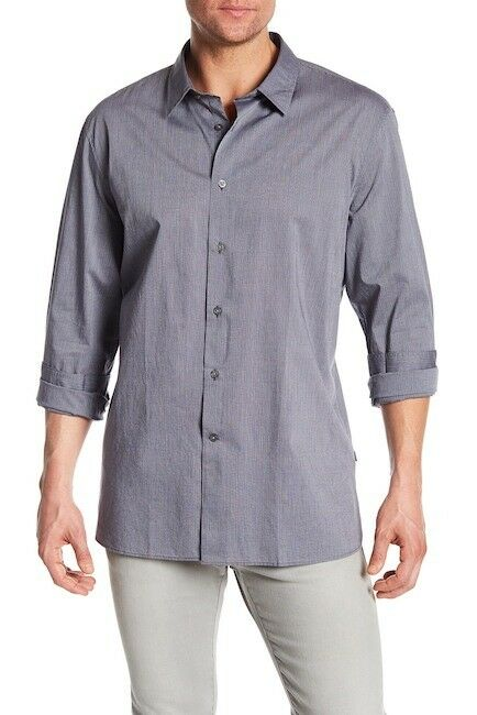 John Varvatos Star USA Men's Atlantic bluee Stripe Print Slim Long Sleeve Shirt