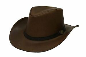 bdef57dd56f12 Image is loading Hazy-Blue-Tan-Leather-Hat-Adelaide-Cowboy-Australian-