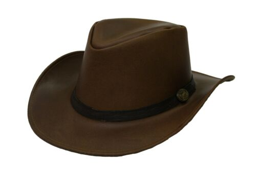 Hazy Blue Tan Leather Hat Adelaide Cowboy Australian Quality Real Hide £19.99