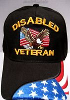 Disabled Veteran Cap/hat W/eagle & Flag Black Military Free Shipping