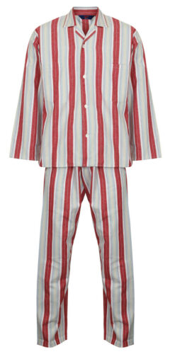 Men/'s Red Stripe Cotton Flannelette Pyjamas by Somax M - XXL Drawstring Waist