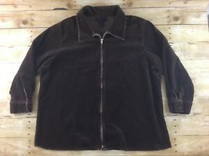 8daace6d5999d Denim   Co. Corduroy Jacket Womens Plus Size 2X Brown Stretch Full ...