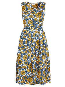 Seasalt-Azul-bosquejado-motivos-Madreselva-Belle-Vestido-Talla-6-18