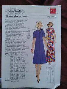 VINTAGE SEWIN modello Donna Raglan Manica Abito Taglia 10 a 16