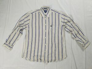 Facconable-Long-Sleeve-Button-Front-Shirt-Striped-Mens-L-100-Cotton-C3