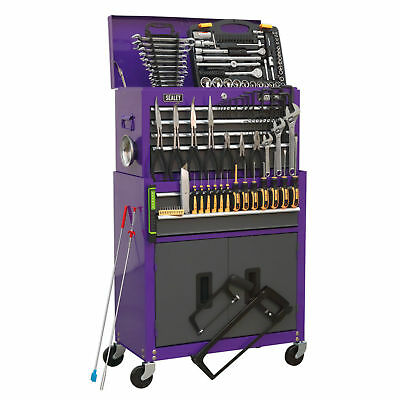 Sealey AP2200COMBOCP 6 Drawer Top Chest /& Roll Cab Stack with 128 pce Tool Kit