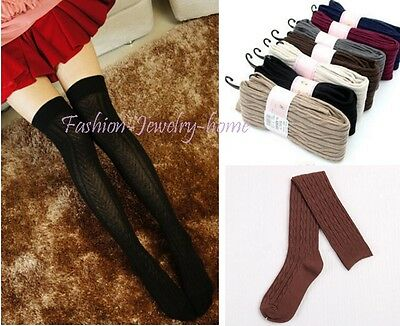 Women Knit Cotton Over Knee Thigh Stockings Pantyhose Tight-Highs Socks