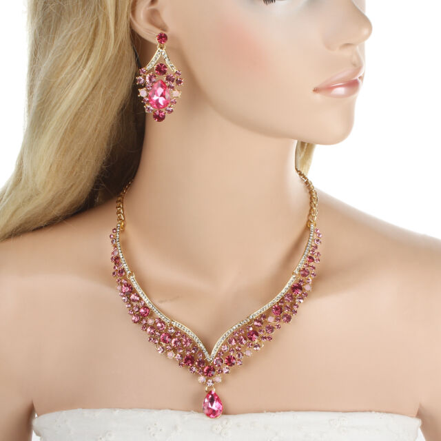 Gorgeous Art Deco Necklace Earrings Set Rose Pink Rhinestone Crystals