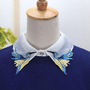 Fake-Collar-Embroidery-Bird-Blouse-Half-Shirts-False-Girls-Women-White-Modern-HC