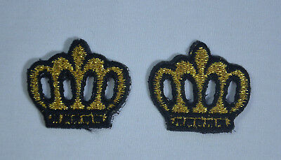 2x CROWN KING QUEEN PRINCESS 3cm Embroidered Sew Iron On Patch Badge APPLIQUE