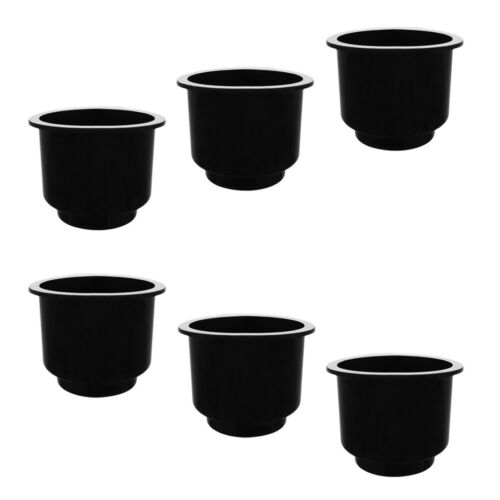 6x Recessed Boat Plastic Cup Drink Beverage Can Holder Marine RV Patio Black