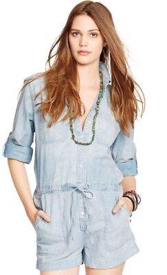 Adattabile Jeans & Supply Ralph Lauren Rolled-cuff Chambray Romper. Taglia Chiaro Senza Ritorno
