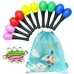 kilofly Musical Toys Rhythm Plastic Egg Maracas Value Pack, 5 colors [Set of 10