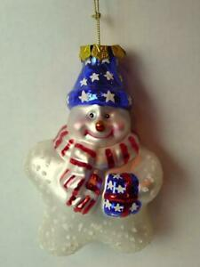 Snowman-Christmas-Ornament-Puffed-Glass-Star-with-Stars-and-Stripes