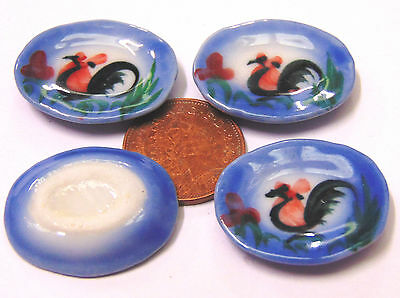 1:12 Scale 4 Ceramic Cockerel Plates Tumdee Dolls House Kitchen Accessory C15