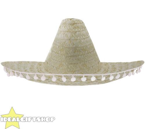 MEXICAN SOMBRERO STRAW HAT POMPOMS ADD ACCESSORIES MOUSTACHE CIGAR FANCY DRESS
