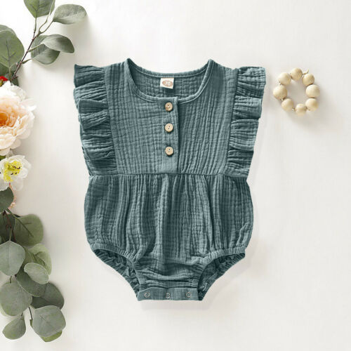 Infant Baby Girls Kids Newborn Solid Ruffle Romper Bodysuit Summer Outfits