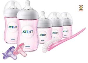 Avent Natural Infant Starter Set Pink (spiral design teats) Authentic Brand New