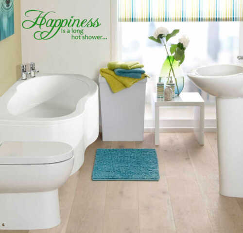 Happiness Is A Long Hot ShowerWall Quote Decal Sticker Bathroom VinylWQ85