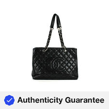 Chanel Quilted Caviar Leather GST Grand Shopper tote Tote Shoulder Handbag Black