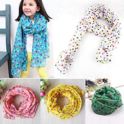 Hot fashion dot children scarf Silk chiffon Baby Neck Scarf The girl Scarf Shawl