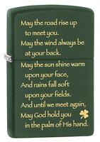 Zippo Windproof Irish Blessing Lighter, Green Matte, 28479, In Box