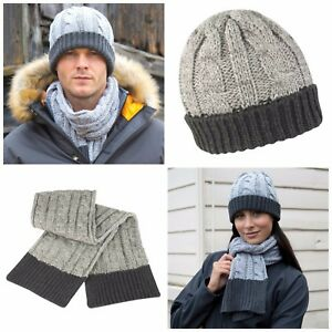 e76f6f342f024b Chunky Knit Hat and Scarf Set Warm Soft Winter Grey Charcoal Mens ...