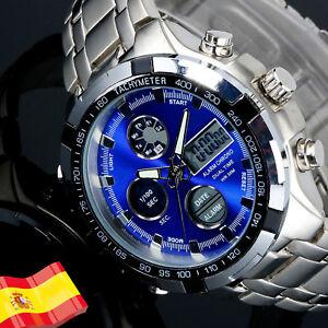 Reloj-De-Pulsera-Hombre-Luz-LED-Digital-Fecha-Para-Hombres-Acero-Analogico-Crono