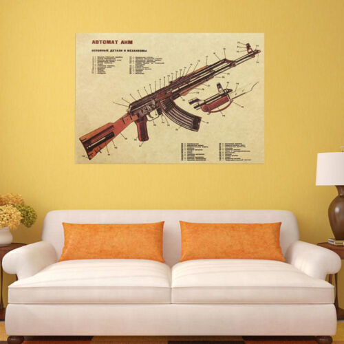 1pcs Vintage Gun Printed Brown Paper Poster Wall Sticker DIY Home Decoration Lot