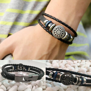 Fashion-Leather-Braided-Cuff-Punk-Wrap-Bracelet-Wristband-Clasp-Women-Men-Bangle